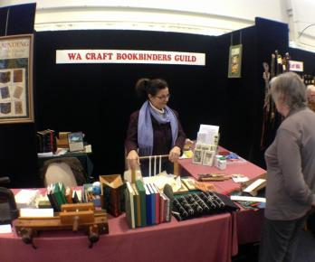 Manning the stand at the Craft Show